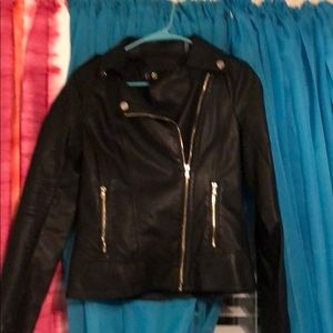 Girls black leather coat